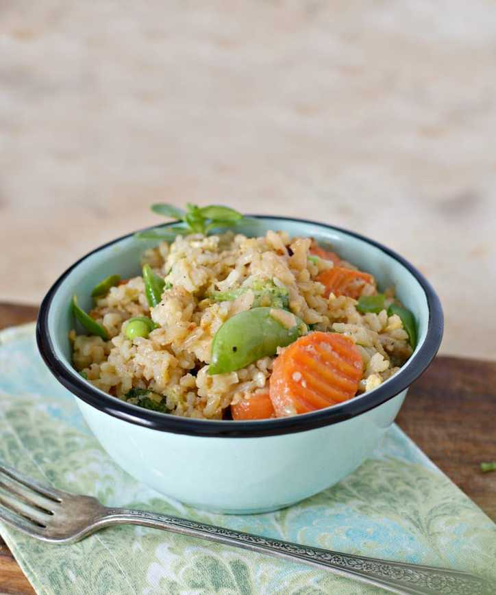 a photo from farther away of Restaurant Style Chicken Fried Rice