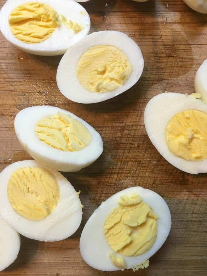 a photo of 6 egg halves cut in half for Southern Deviled Eggs
