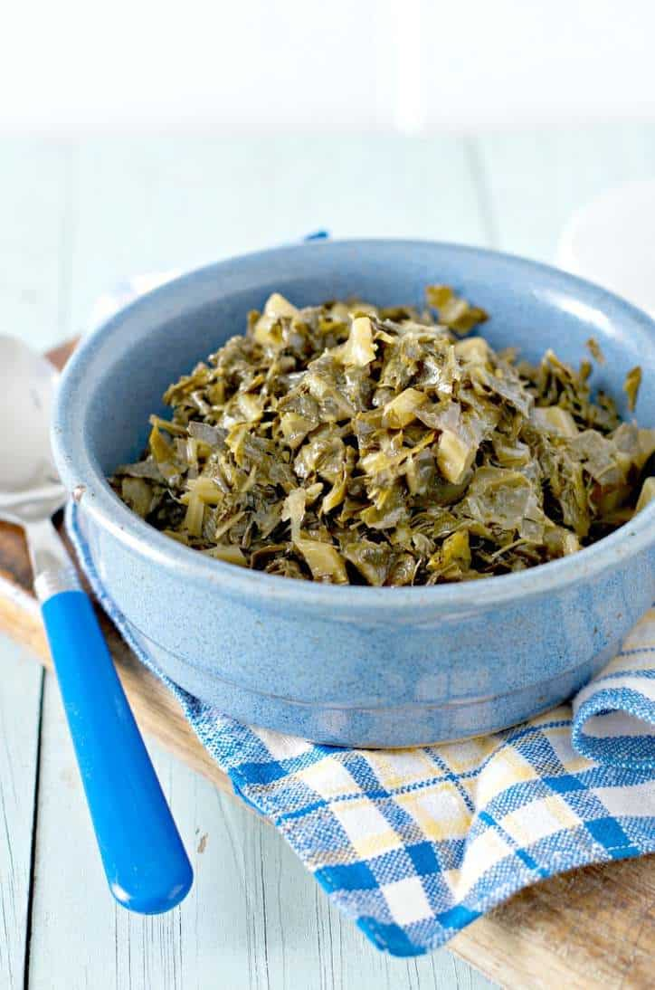 A close up photo from the side of HOW TO COOK CANNED COLLARD GREENS