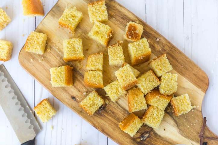 The cornbread cut into cubes for Southern Cornbread Salad