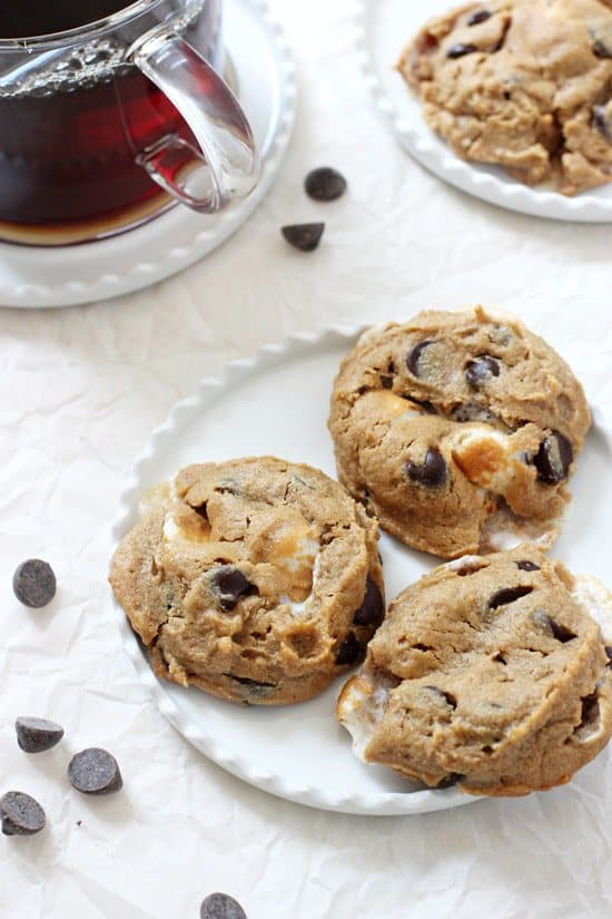 A photo of flourless peanut Butter smores cookies