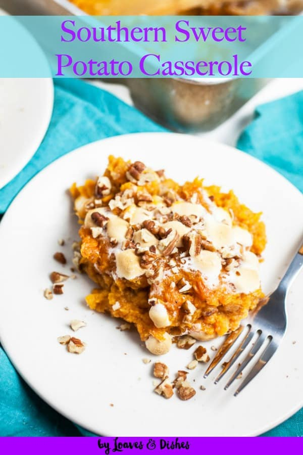 This easy  make ahead sweet potato casserole with marshmallows is healthy and can use canned sweet potatoes too!  Deep South Southern with the flavors of Paula Deen and Pioneer Woman.  Make with or without nuts! #sweetpotatocasserole #thanksgiving #Christmas #holidayrecipe #thanksgivingrecipe #easyrecipe