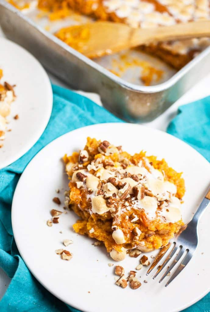 A photo of a serving of southern sweet potato casserole