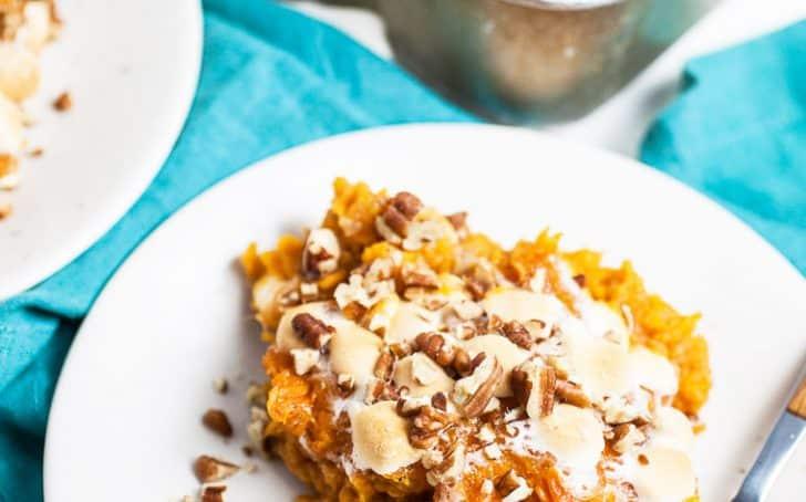 A photo of a serving of southern sweet potato casserole
