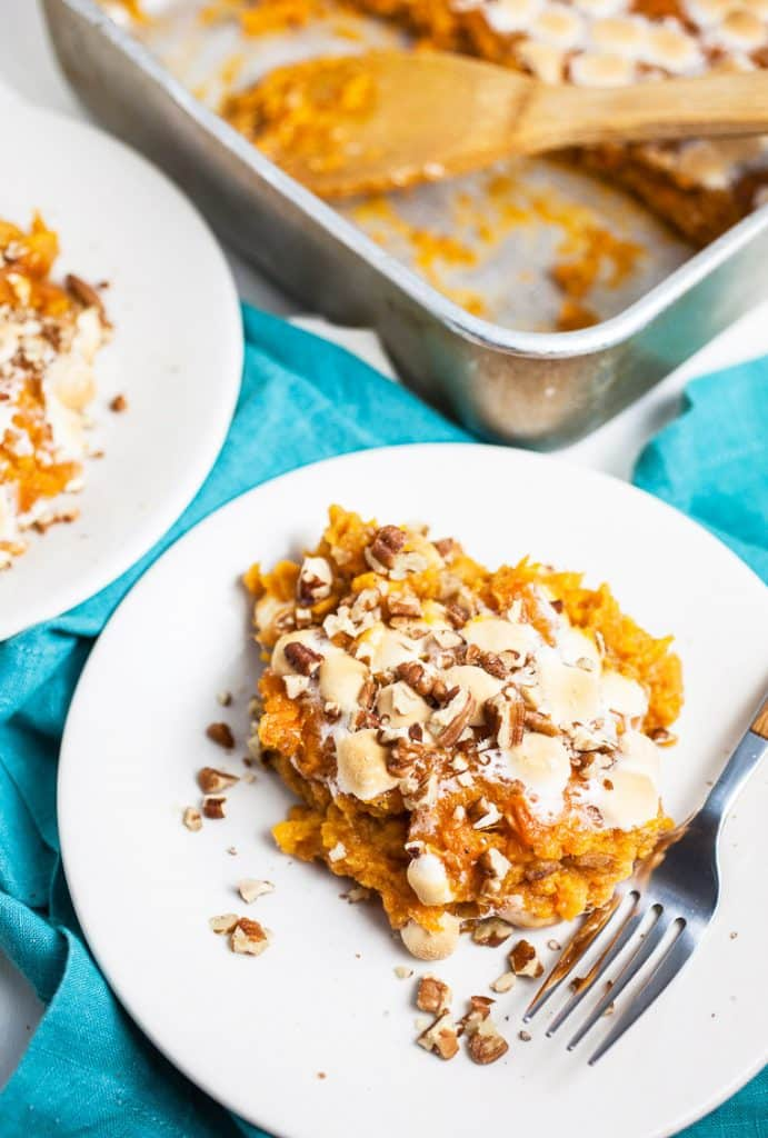 A serving of the Southern Sweet Potato Casserole and the pan it came from