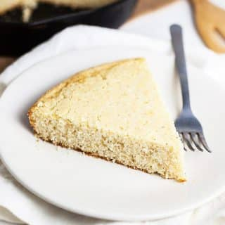 Southern Cornbread slice on a plate