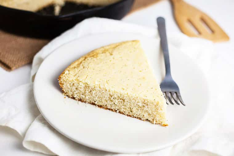Southern Cornbread slice on a plate