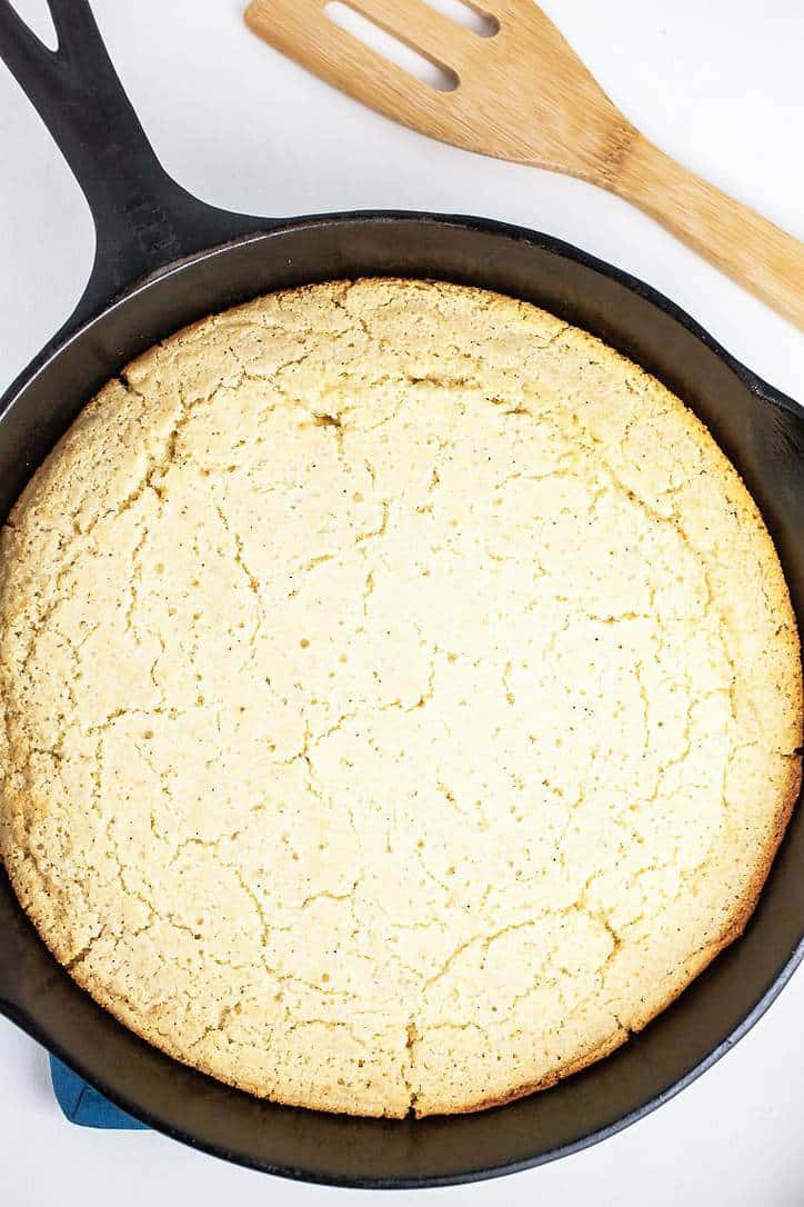 A top down view of a pan of southern cornbread
