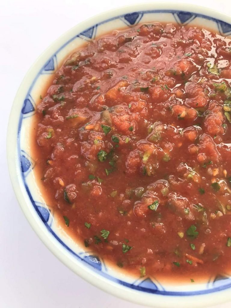 A bowl of fresh homemade salsa
