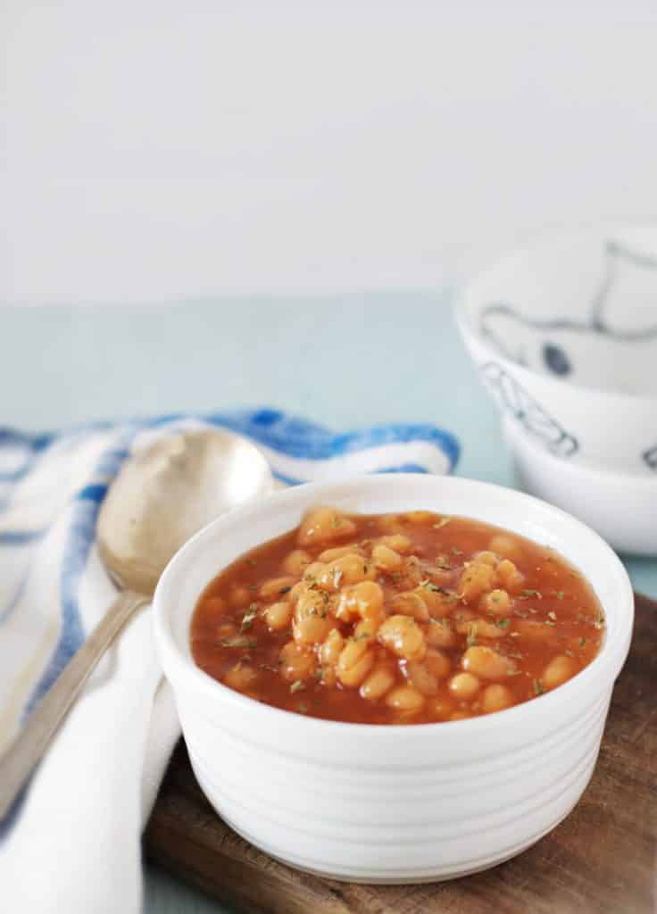 A single bowl of baked beans for How to Cook Canned Baked Beans