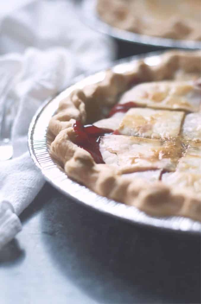 A close up of the crust of How to make cherry pie with cherry pie filling