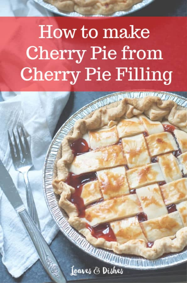 Easy recipe for cherry pie made with cherry pie filling!  Tips for how to make taste like from scratch. Made with canned filling and a delicious easy refrigerated crust!  #cherrypie #recipe #holiday #Thanksgiving #Christmas