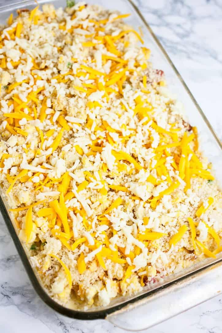 Everything in the casserole dish for southern scalloped corn