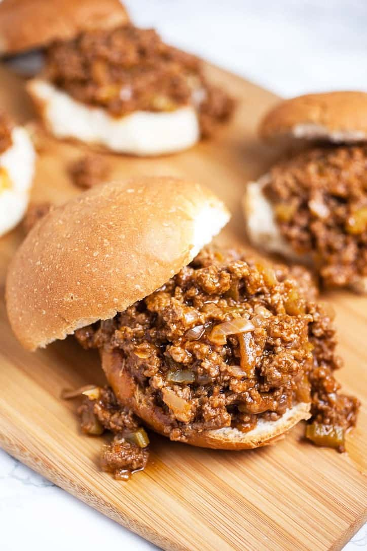A burger of the homemade sloppy joe sauce