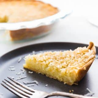 A slice of coconut custard pie