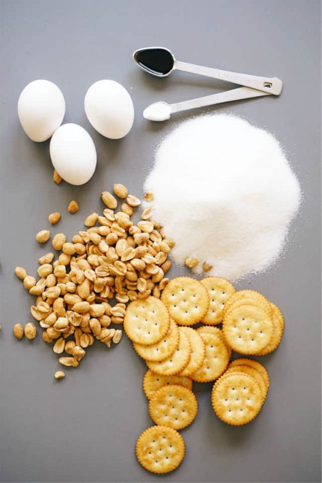 The ingredients for Cracker Crust Peanut Pie