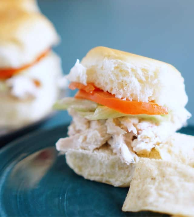 A little sandwich of White Trash Chicken Sliders