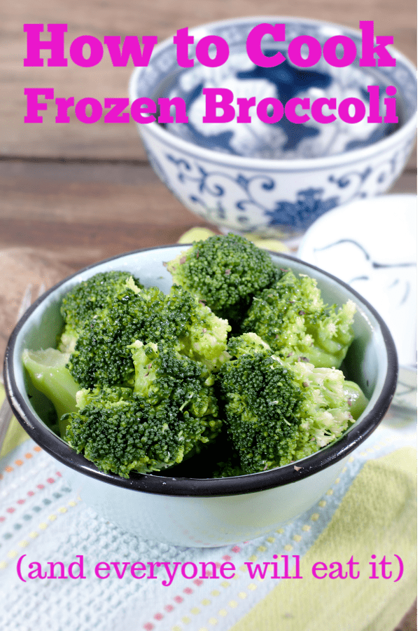 How to Make Frozen Broccoli so that everyone will eat it.  Directions for in the microwave, on the stovetop, steaming, roasting in the oven and a bonus cheese sauce! #broccoli #recipe #thanksgiving