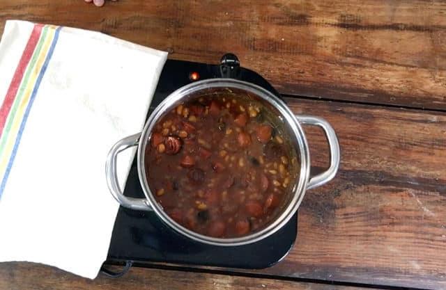 A saucepan of bubbling beanie weenies