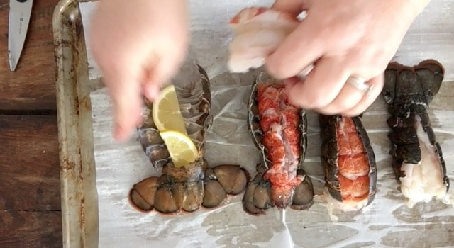 hands laying lemon slices beneath the lobster meat