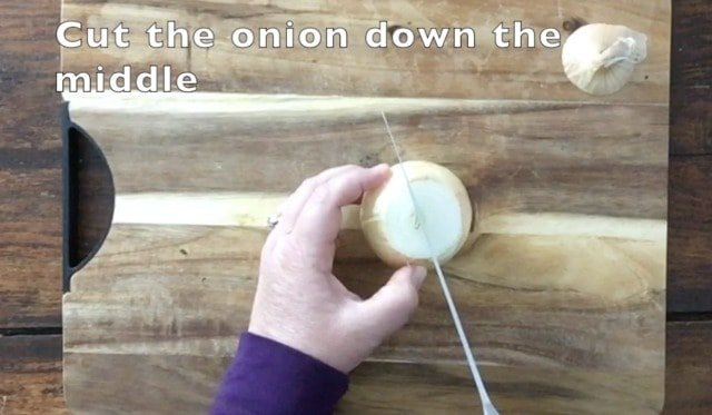 onion being cut down the middle