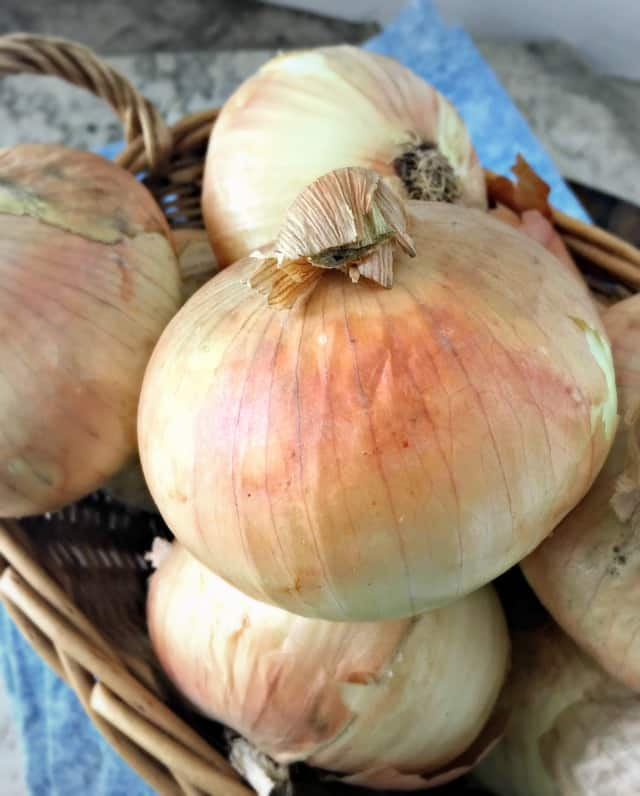 basket of onions with a peachy glow to the skin