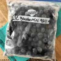labeled quart size freezer bag of frozen blueberries