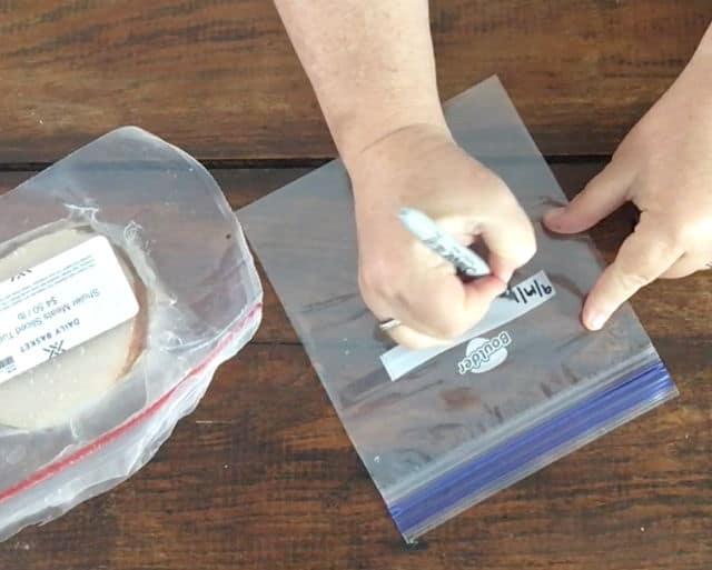 hand writing on bag date, item, etc