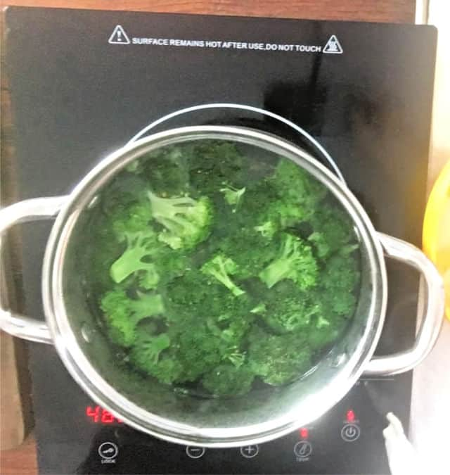 green vegetable in a stock pot boiling on stove eye