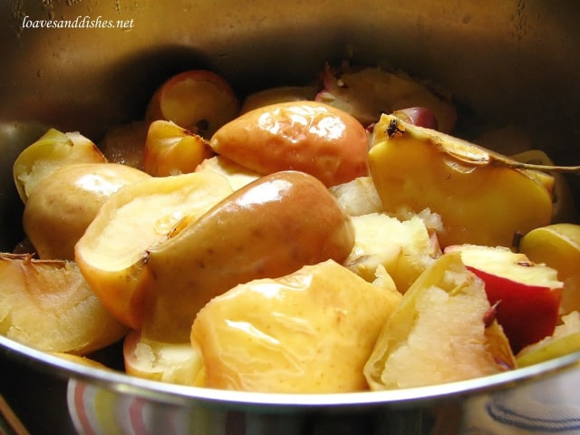 cooked apples in large sauce pot