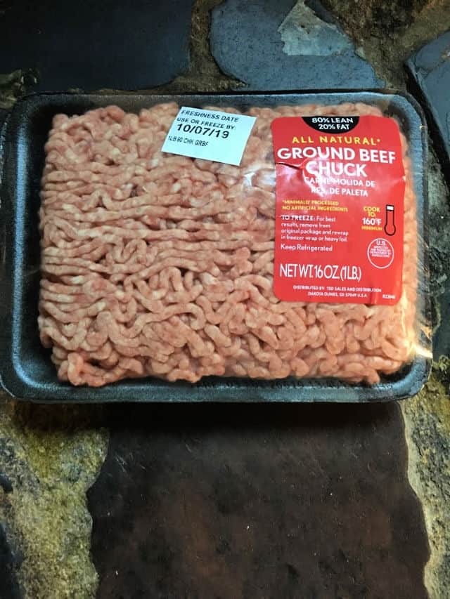 1 lb package of ground beef hamburger in package