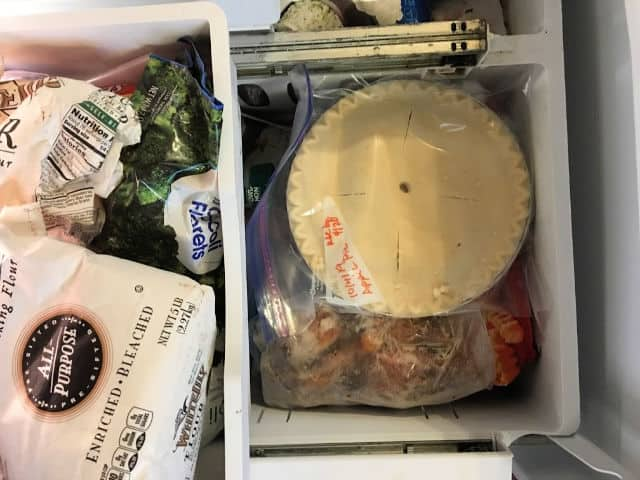 pie in freezer bag in the freezer