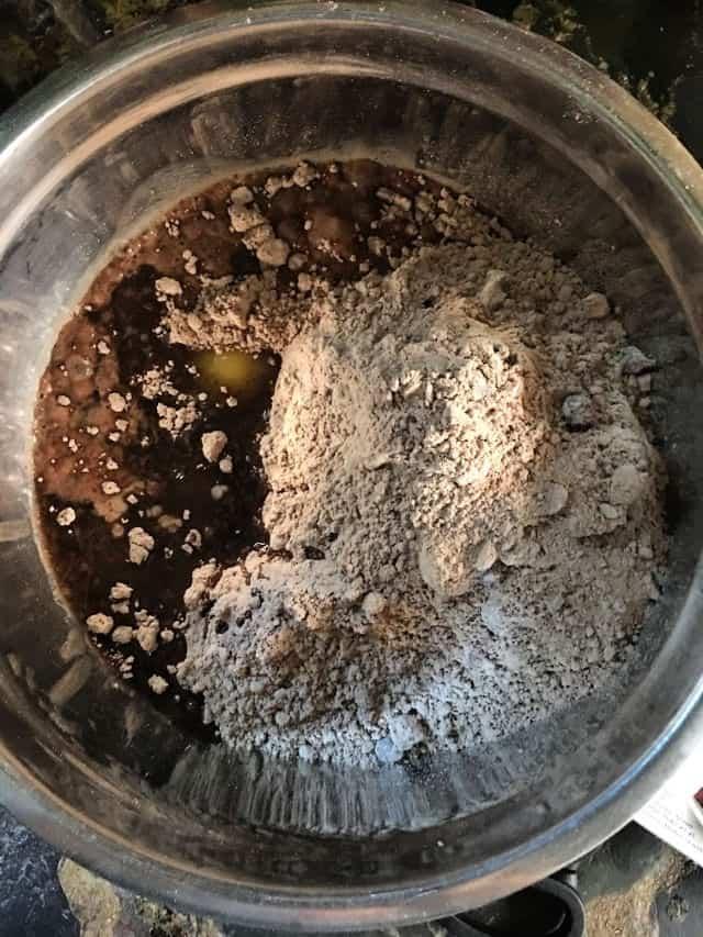 brownie mix ingredients in the bowl