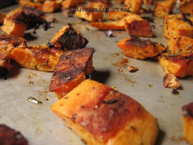 up close of roasted edges of sweet potato