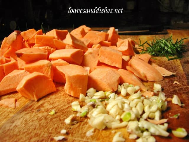 Savory Roasted Sweet Potato ingredients on chopping board