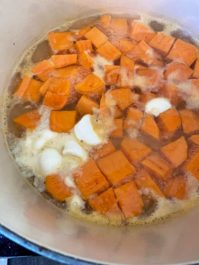 boiling chicken stock with sweet potato cubes