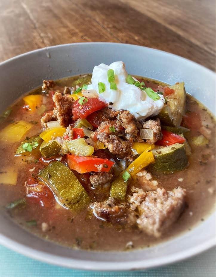 italian summer soup in gray bowl