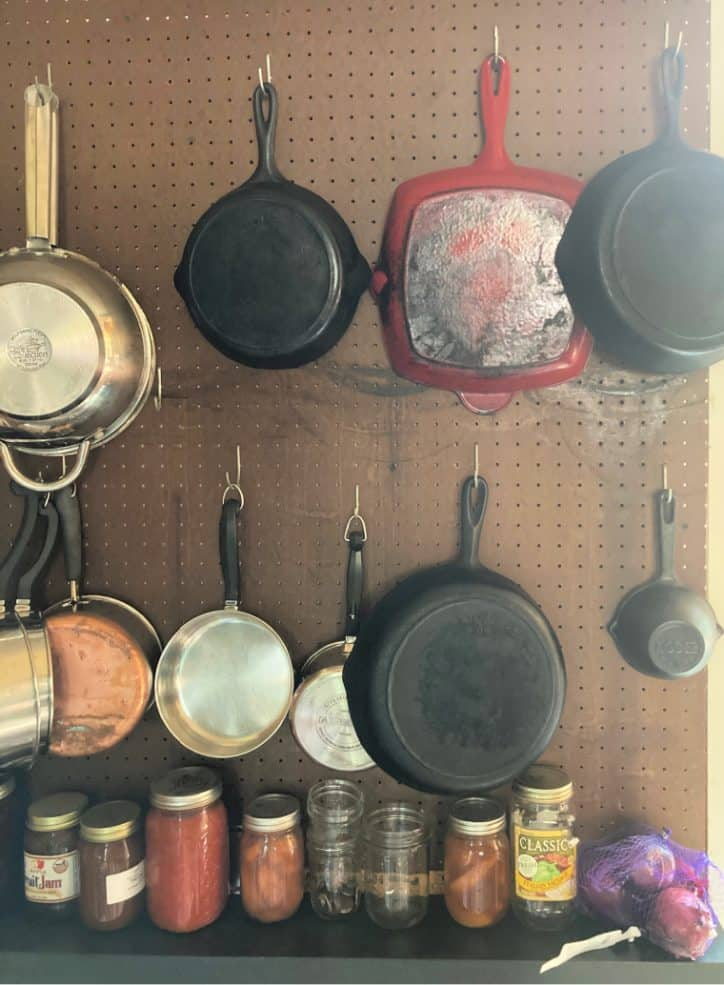 pans hanging on the wall