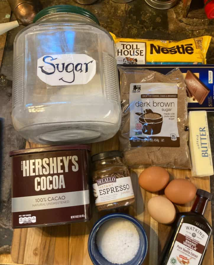 small batch brownies ingredients on table