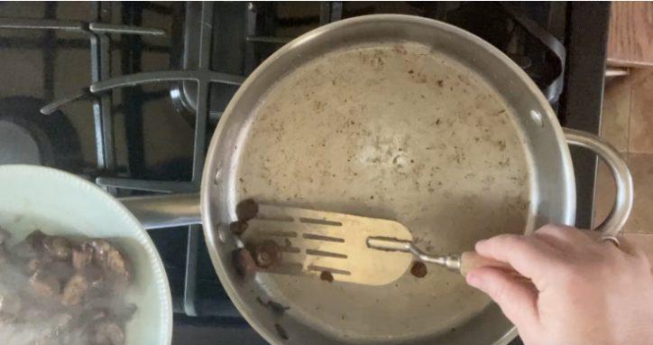 spatula in frying pan