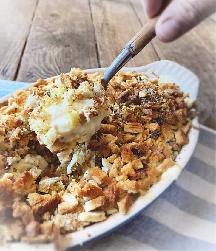 grannys poppy seed chicken in spoon