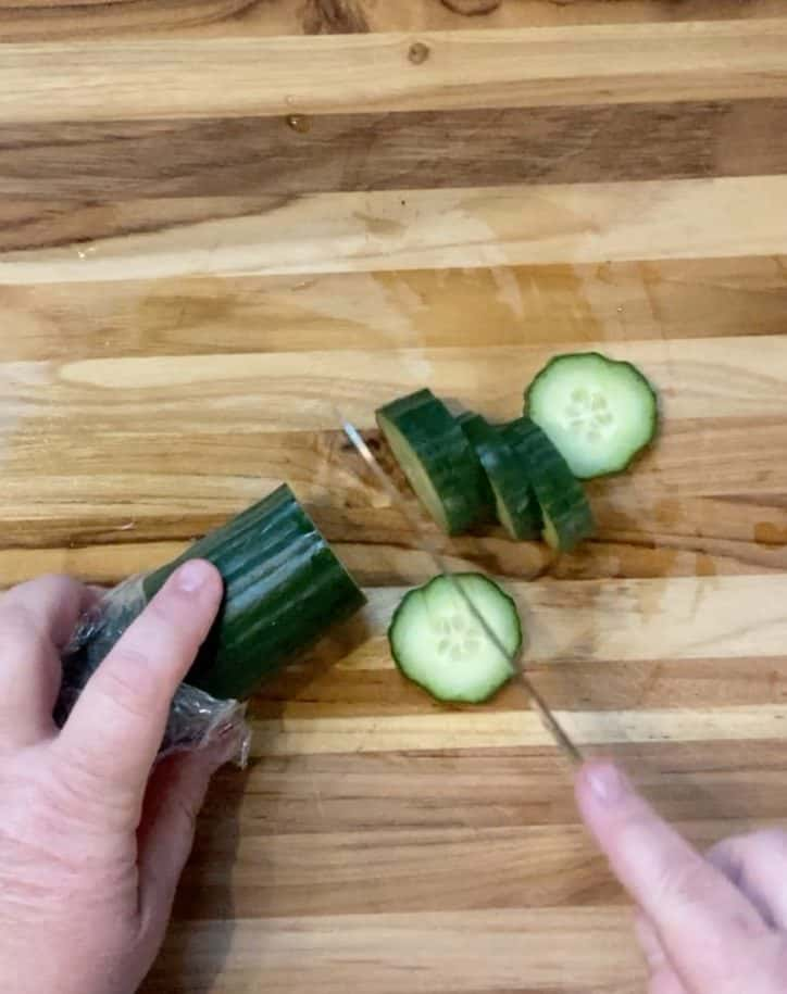 cutting cucumbers