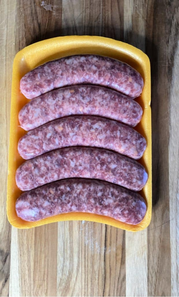 tray of Italian Sausages