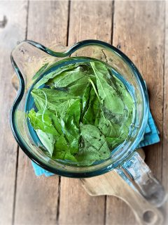 pitcher of basil water