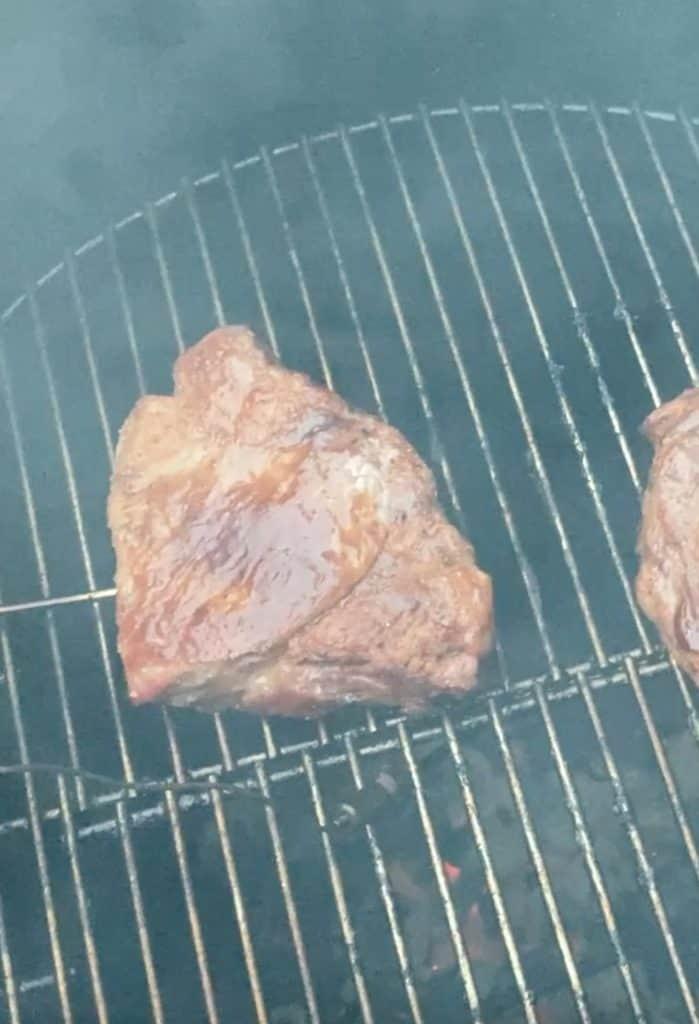 finished steak on smoker