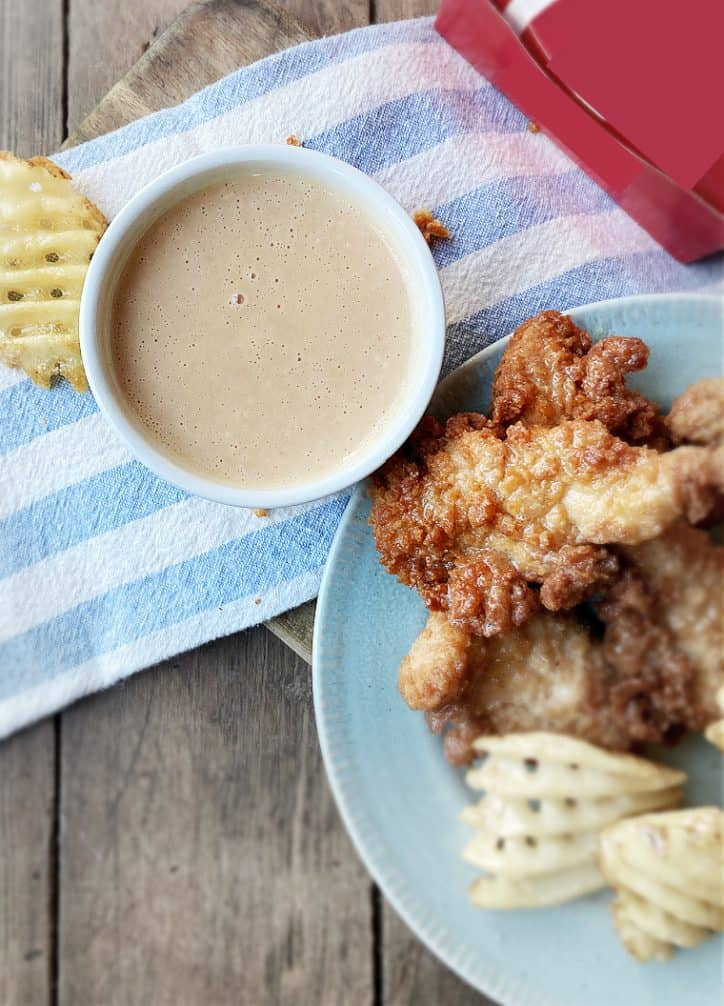 homemade chick fil a sauce with strips