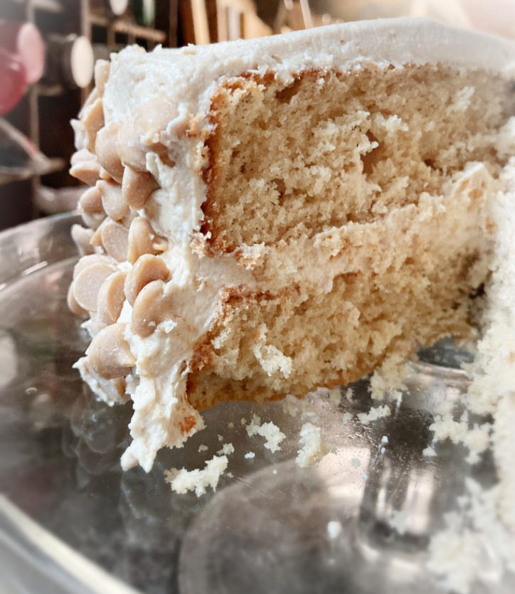 peanut butter cake on stand