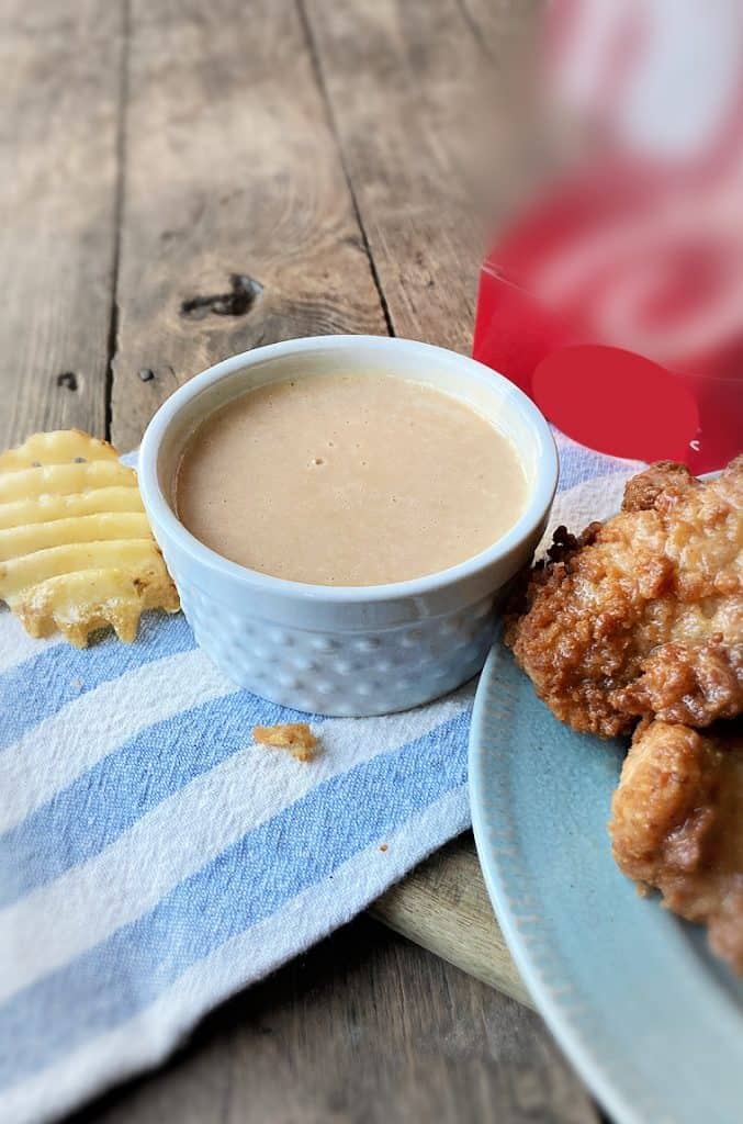 homemade chick fil a sauce with waffle fry
