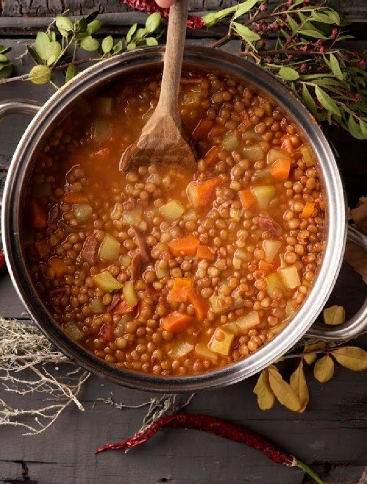 crockpot lentil soup pot
