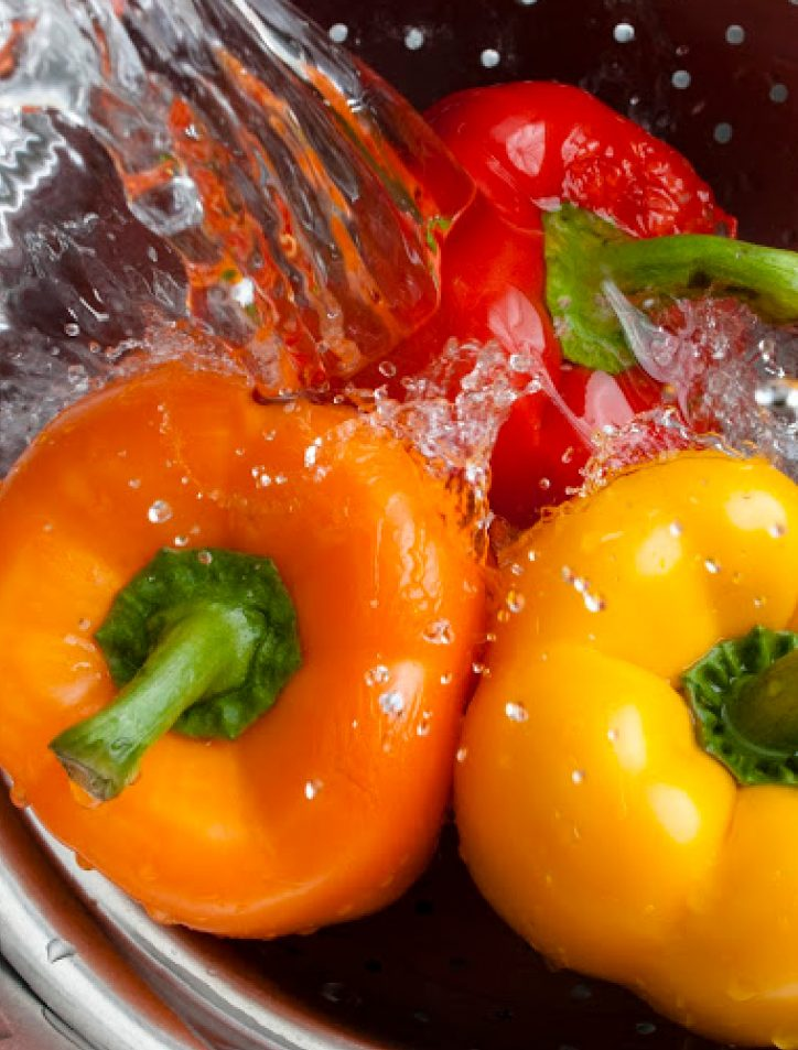 water on peppers